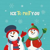 Fancy Seasonal Poster. Cartoon Playful Fun Snowmen Cartoon. Merry Christmas Winter Season Greeting C poster