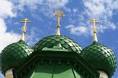 picture of uglich  - The three green cupolas of church Uglich - JPG