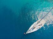 Sailing Yacht, A Delightful Seascape Drone Photo. Clear Blue Sea. Sailing Regatta, Boat Trip, Top Vi poster