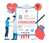 Medical Diagnosis - Atherosclerosis. Doctor Taking Care Of Patient. Heart Attack. Blood Vessel Secti poster