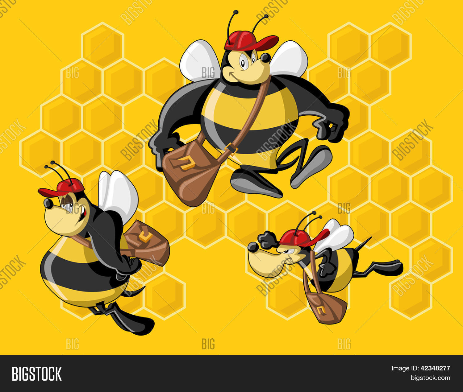 cartoon bees front honeycomb bee vector u0026 photo bigstock