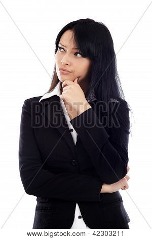 Closeup Of Attractive Businesswoman Thinking And Looking At The Side Of The Image