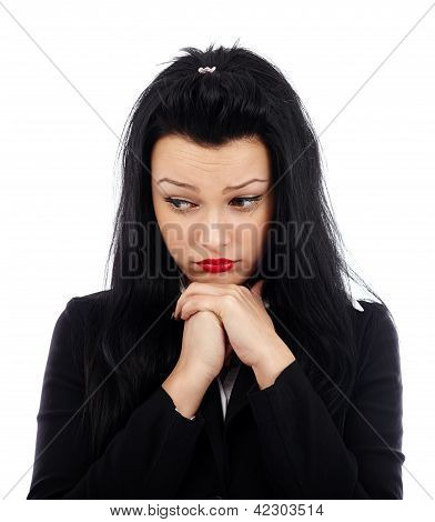Businesswoman With Hands At Chin