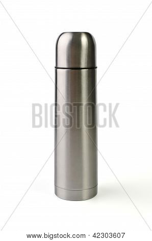 Metal Thermos Isolated Over White