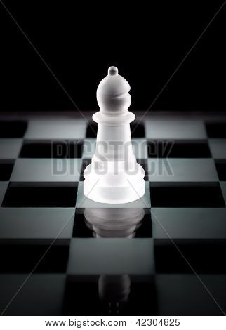 Bishop Chess Piece Over Black Background