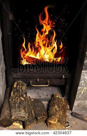 fire in hearth