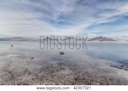 Flooded Bonneville Salt Flats In Utah, Usa.