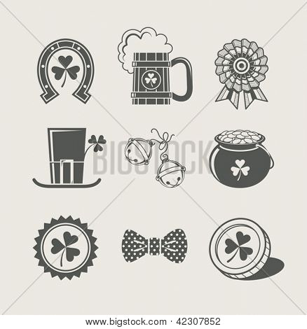 patrick's day set of icons. Vector Illustration.