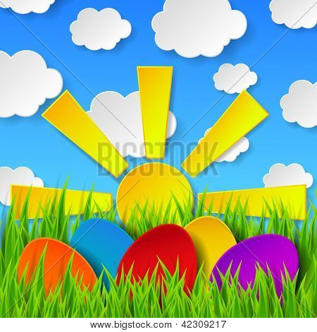 Abstract Easter eggs made of paper on colorful spring background with green grass, sun, sky and clouds. Vector eps10 illustration