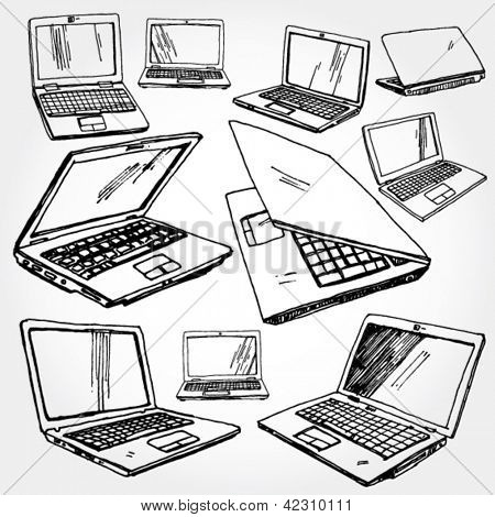 Illustration of Laptop Hand Drawn