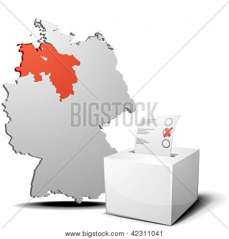 detailed illustration of ballot box in front of a 3D outline of Germany with a red marked province Lower Saxony, eps 10