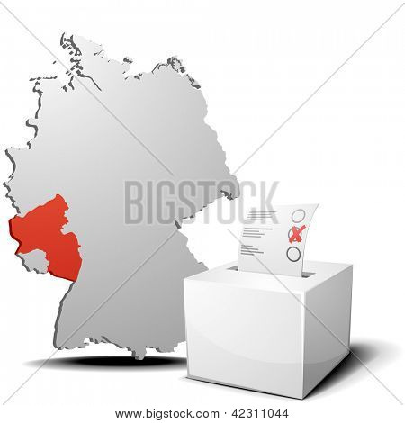 detailed illustration of ballot box in front of a 3D outline of Germany with a red marked province Rhineland-Palatine, eps 10