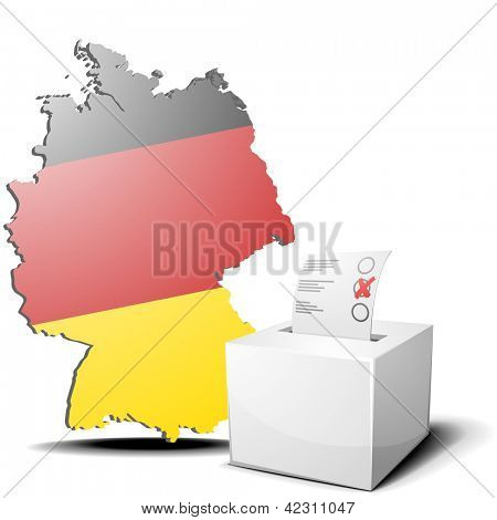 detailed illustration of ballot box in front of a 3D outline of Germany with flag, eps10