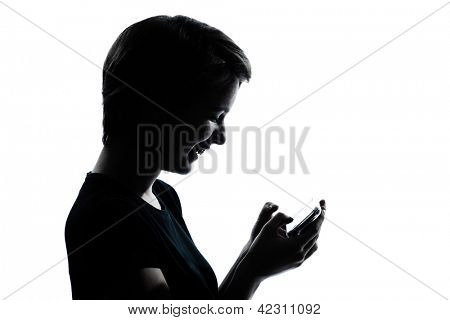 one caucasian young teenager silhouette girl telephone videophone video game  portrait in studio cut out isolated on white background