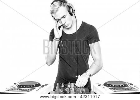 DJ at work in front of white background