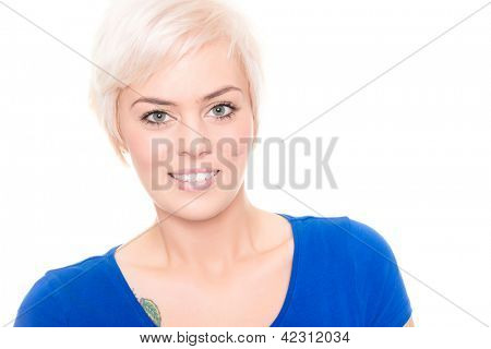 Young and smiling woman in front of white background