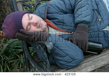 Homeless Man - Park Bench Closeup