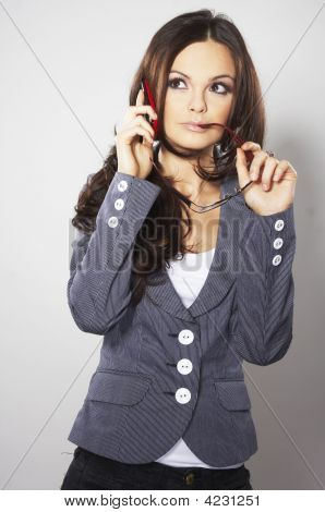 Attractive Businesswoman With Cell Phone