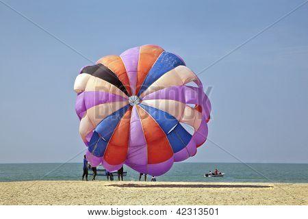 Para Gliding sail fills with air