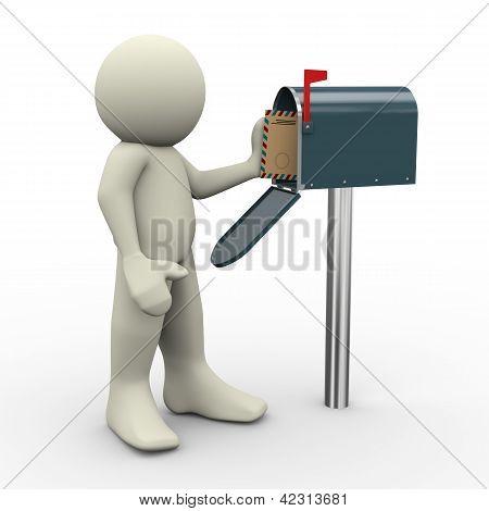 3D Man And Mailbox