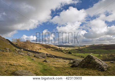 Moughton Scar And Wharfe Dale Viewed From Norber Erratics In Yorkshire Dales National Park
