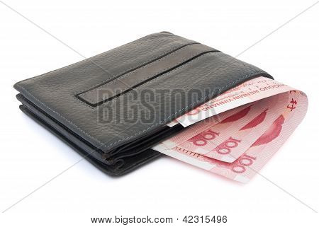 Wallet And Rmb 100 With Clipping Path