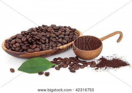 Coffee beans ground and whole with leaf sprig over white background.