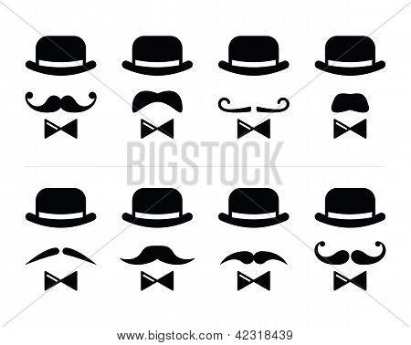 绅士图标-套的小胡子和领结的男人