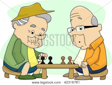 Illustration of Two Old Men Playing Chess