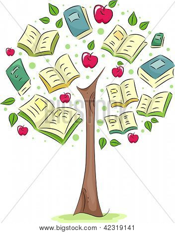 Illustration of a Tree with Books for Leaves