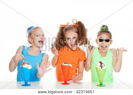 happy kids eating ice cream at birthday party