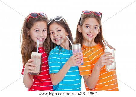 children drinking flavoured milk drinks