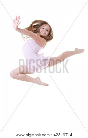 child ballet dancer leap or dance
