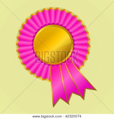 Pink And Gold Award Ribbon Rosette On Yellow Background
