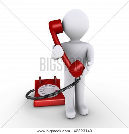 Person Is Holding Telephone Receiver