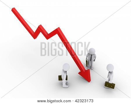 Businessmen Are Looking At Graph Going Down