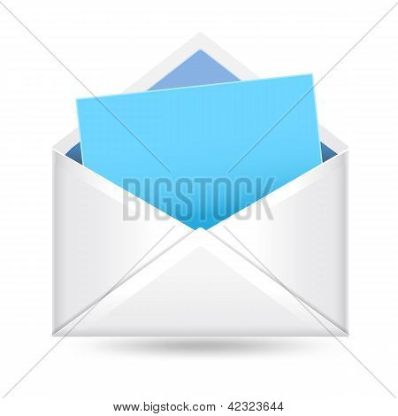Open Envelope With Notepad Sheet