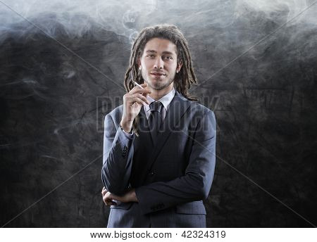 Businessman Smoking A Joint