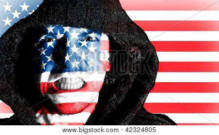 Hooded Angry Man With American Flag Design On Face