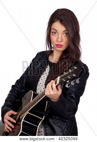 Pretty brunette musician with a guitar isolated on white background