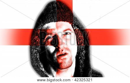 Hooded Angry Man With English Flag Design On Face