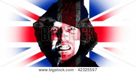 Hooded Angry Man With British Union Flag Design On Face