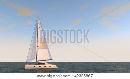 small ship in the sea
