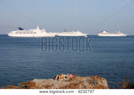 Ships And Tourist Horizontal