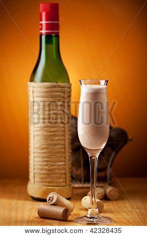 Porto Flip Cocktail - Ruby Port, Brandy, Cream, Syrup and Egg Yolk, Nutmegs