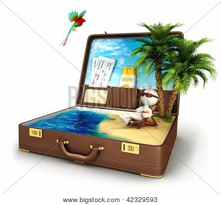 3d white people in a suitcase paradise