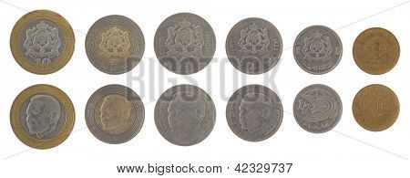 Moroccan dirham coins depicting King Mohammed VI of Morocco. Obverse and reverse isolated on white.