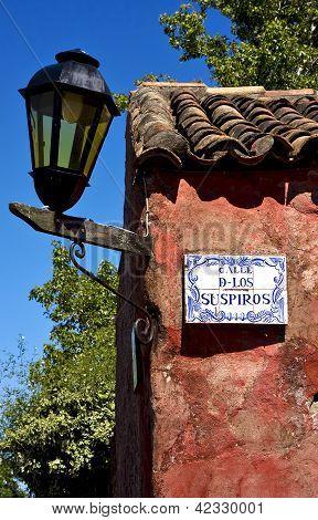 Street Lamp And Plate  In Calle De Los Suspiros  Uruguay