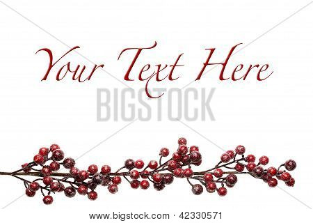 Sparkly Red And Silver Berries On Branch Background