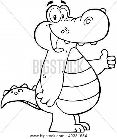 Outlined Smiling Aligator Or Crocodile